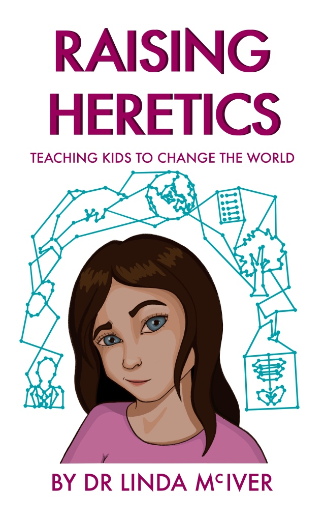 Raising Heretics book cover - a person looking sceptical surrounded by objects